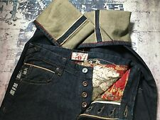 IFUKU JAPAN JAPANESE REDLINE SELVEDGE TSUNAMI WAVE DENIM JEANS  32W 32 LEG