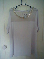 BNWT, White short sleeve top, beaded/sequin neckline, size 20, from Label Be