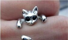 Perfect Cute Silver Cat Ring With Rhinestone Eyes And Resizable