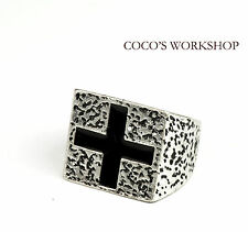 QUALITY VINTAGE SQUARE BLACK SILVER CROSS GOTHIC PUNK COOL BAND RING JEWELLERY