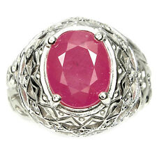GORGEOUS OVAL 11x9mm. TOP RICH RED PINK RUBY & WHITE CZ 925 SILVER RING SIZE 10