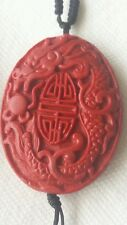 Vtg Chinese Carved Cinnabar Black Onyx Beads Necklace DRAGON