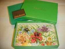 VINTAGE JOAN RIVERS INTERCHANGEABLE FLOWER PIN SET ORIGINAL BOX ROMANCE CARD J56