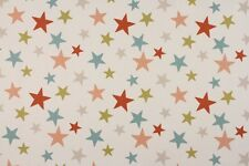 Fabric Remnant 100% Cotton 50cm x 40cm Funky Stars Coral