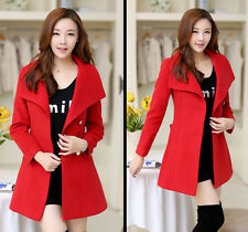 Women Thicken Warm Winter Woolen Trench Coat Parka Overcoat Long Jacket Outwear