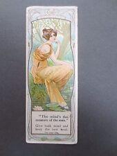 Antique BOOKMARK QUAKER OATS Cereals Advertising Art Nouveau Edwardian Chromo