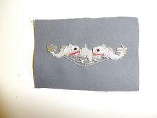 b3375 WW2 US Navy Officer Submarine Qualification badge Bullion on gray C14A2