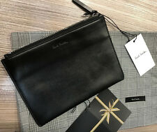 Paul Smith POUCH / CLUTCH BAG Black Leather With PETRO INTERIOR - Made in Spain