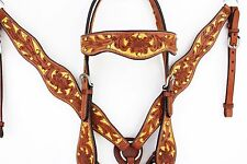 GOLD BLING WESTERN LEATHER HORSE BRIDLE HEADSTALL BREASTCOLLAR REINS TACK SET