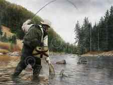 TROUT ART PRINT - Fishing the Gallatin by Kevin Daniel 18x24 Fly Fish Net Poster