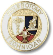 Phlebotomy Technician Lapel Pin Shield Gold Plated Medical Insignia Emblem New