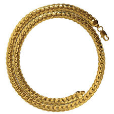 "Mens Yellow 18k Gold Filled Necklace 18"" Snake Curb Chain Charms Gift"