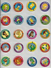Simpsons Pog Set Fifty Individual Pogs-Complete Set + Sheets & 10 Slammers