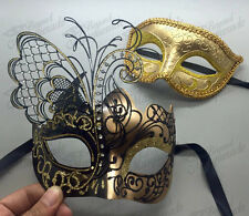 His & Her Couple Masquerade Mask, Gold Mask for Him, Butterfly Mask for Her