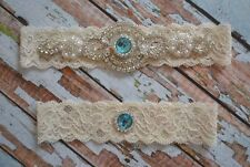 Blue Rhinestone & Pearl Wedding Garter Set, Blue Rhinestone Bridal Garter Belt