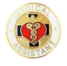 Medical Assistant Lapel Pin Heart Caduceus Blue Cross Emblem Graduation Pins
