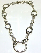 "18"" HEAVY MICHAEL DAWKINS STERLING SILVER DOT CABLE OVAL CHAIN NECKLACE"