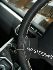FOR FORD MONDEO MK3 00-07 TRUE LEATHER STEERING WHEEL COVER CREAM DOUBLE STITCH