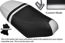 BLACK & WHITE CUSTOM FITS PIAGGIO NRG 50 MC3 DUAL LEATHER SEAT COVER ONLY