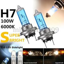 H7 100w Super White XENON Dip Main Beam Head Light Bulbs + 501 LED Sidelights