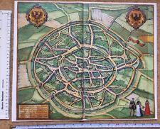 MAPPA a colori di Aquisgrana, Germania: 1576 da Braun & HOGENBERG RISTAMPA inglesi
