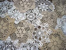 """15psc  Hand Crochet Doilies 7"""" -8""""-9""""-11""""  Wht & Natur VTG Wedding Tea Party NEW"""