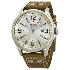 Fossil Recruiter Silver Dial Brown Leather Mens Watch FS4936