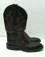 Hondo Western Cowboys Boots Leather Brown and Black with Red Pattern Sz 7 D