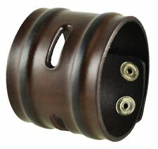 "Nemesis Brown Wide Slit and Groove Leather Cuff Bracelet Band 9"" x 2"" Vintage"
