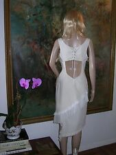 Open Back SPORTMAX Italy DRESS Lace Up Ivory Cotton White Pleated Ruffles NEW