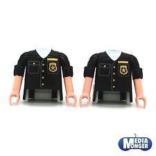 playmobil® 2 x Oberkörper mit Arme schwarz kurzärmlig   Sheriff   Polizei