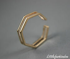 Women's Rose Gold Plated Sterling Silver Simple Hexagon Fine Ring UK New 1.53g