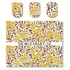 1 Sheet Nail Art Water Transfer Decal Manicure Sticker Flowers Theme DIY ND-34