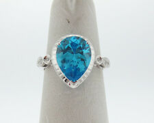 NEW Solid 14k White Gold Pear Shape Blue Topaz Diamonds Ring FREE Sizing