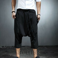ByTheR Men's Fashion Black Rope String One Size 3/4 Length Black Baggy Pants