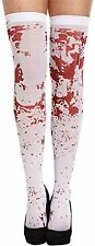 LADIES FULL LENGTH SEXY HALLOWEEN WHITE WITH RED BLOOD FANCY DRESS STOCKINGS