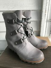 NEW SOREL ANTHROPOLOGIE JOAN OF ARCTIC MID WEDGE LIGHT GREY BOOTS SIZE 10.5