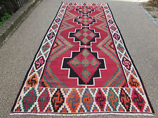 Kilim Rugs Old Traditional Hand Made Persian Oriental Kilim Wool Red 390x165cm