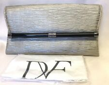 NEW DIANE von FURSTENBERG ENVELOPE STARDUST LEATHER CLUTCH BAG GRANITE DUSTBAG