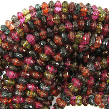 "8mm faceted watermelon tourmaline quartz rondelle beads 7.5"" strand"