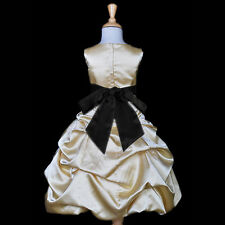 SHINY GOLD YELLOW PAGEANT DRESS FLOWER GIRL WEDDING PARTY FORMAL BIRTHDAY CHILD
