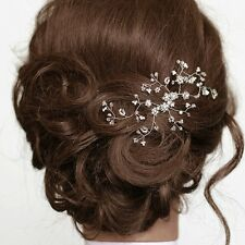Bridal Floral Hair Vine Tiny Crystal Pearl Leaf branch Wedding  Comb Headpiece