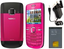 New Condition Nokia Brand C3-00 Pink Unlocked Wifi Qwerty Keypad Mobile Phone