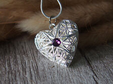 Amethyst Heart Love Filigree Silver Tone Picture Locket Pendant Chain Necklace