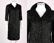 VTG COUTURE 1950s 1960s BLACK SEQUINED BEADED COCKTAIL PARTY DRESS OOAK SZ M