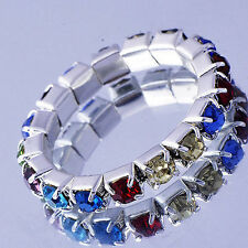 Vintage White Gold Filled Rainbow Cubic Zirconia  Rings Size 5.5 (US) Wholesale