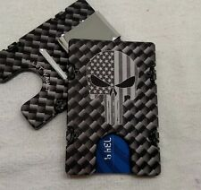 Punisher w/flag, Carbon Fiber Pattern, Alum Wallet/Card Holder, RFID Protection