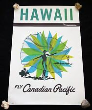 1950 Original Fly Canadian Pacific Hawaii Net Fisherman Poster (Hol)#33