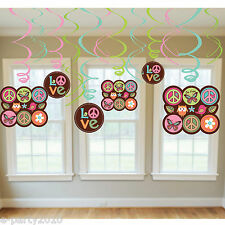 HIPPIE CHICK HANGING SWIRL DECORATIONS (12) ~ Birthday Party Supplies Foil Peace