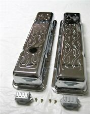 1958 - 1986 SMALL BLOCK CHEVY CHROME NOSTALGIA FLAME VALVE COVERS TALL SBC 350
